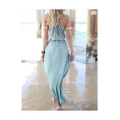 Sky Blue Cut Away Open Waist Split Maxi Dress (€23) ❤ liked on Polyvore featuring dresses, maxi slip dress, cut out maxi dress, cutout dresses, cut out dresses and cutout maxi dresses