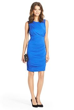 Angelina Ruched Jersey Dress In Dark Lapis