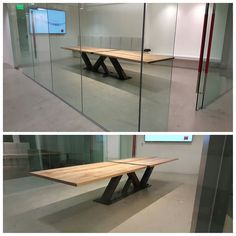 """Custom 14' Modern Industrial Conference Table turned out beautiful! Made of steel and 2"""" thick maple top. After some heavy lifting it has made it to its new home in LA! IndustrialReclaim.com"""
