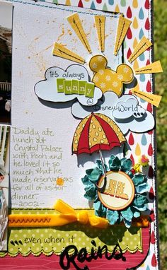 Disney Scrapbook inspiration by Susan Stringfellow. The stitched paper and Mickey-shaped sunshine are totally my style.