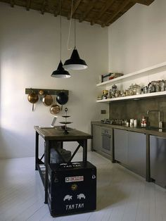 "Concrete Cabinet frame with integrated top & Backsplash. 1 1/2"" open shelving; Industrial vintage bench/Island; vitage painted box; Painted Floor; inexpensive insudtrial hanging ceiling fixtures."