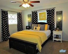 65 Trendy bedroom black and white yellow guest rooms Yellow Gray Bedroom, Bedroom Black, Dream Bedroom, Grey Yellow, Black White, Trendy Bedroom, My New Room, Beautiful Bedrooms, Bedroom Decor