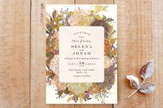 """""""Floral Feast"""" - Hand Drawn, Floral & Botanical Wedding Invitations in Gold Leaf by Phrosne Ras."""