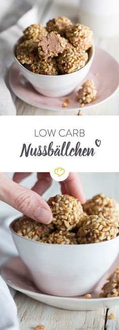 Kaffeepause mit Nusskugeln und weniger Carbs: Kakao-Quark-Creme im Inneren und e. Coffee break with nut balls and less carbs: Cocoa curd cream insid. Low Carb Sweets, Healthy Sweets, Low Carb Desserts, Low Carb Recipes, Baking Recipes, Healthy Snacks, Tuna Recipes, Vegetarian Recipes, Low Carb Cheesecake