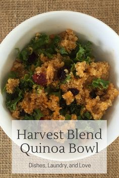 Harvest Blend Quinoa Bowl-- this recipe is easy to make, healthy, and the perfect make ahead side dish for any Fall gathering. This recipe includes butternut squash, quinoa, kale, cranberries, and a pumpkin dressing.
