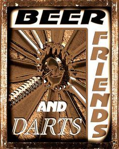 MANCAVE sign BEER friends DART BOARD  VINTAGE bar  pub bathroom wall decor art