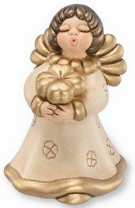 THUN - ANGELO LIMITED EDITION con quadrifoglio in ceramica dipinto a mano color champagne con decorazione in rilievo oro. Come ogni anno Thun presenta l'angelo in edizione limitata a 9999 pezzi . Questo è il numero 1604 - Materiale : ceramica - Colore champagne - Misura cm 19 h  -  http://www.enriquez.it/articolo.asp?codice=058/E038B83