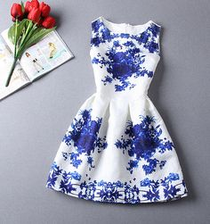 Vintage Jacquard Printed Sleeveless Dress