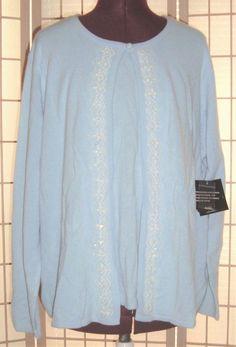 New WT Sag Harbor Sz 1X Baby Blue & White Beaded Embroidery Two Fer Cardigan #SagHarbor #TwoFerTankCardigan