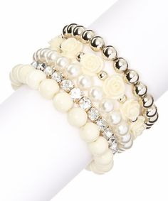 This Gold & White Rose Stretch Bracelet Set is perfect! #zulilyfinds