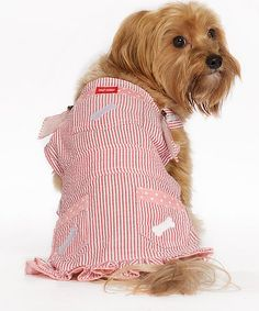 Look what I found on #zulily! Red & White Stripe Pet Overalls by Pet Life #zulilyfinds