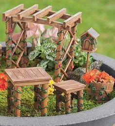 Miniature Fairy Garden Ivy Furniture Set | Garden Whimsy