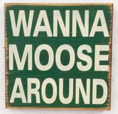 Wanna Moose Around Sign by SleepysCustomSigns on Etsy, $19.95