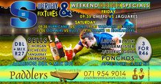 If you're planning on watching the Super Rugby 2018 this weekend at Paddler's Restaurant & Bar, you are in luck! We are running some weekend drink specials that you are not going to want to miss out on. Super Rugby, Rugby World Cup, Drink Specials, Smirnoff, Special Promotion, Restaurant Bar, Blues, Running, How To Plan