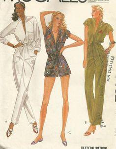 Vintage 80s McCalls 7462 UNCUT Misses Zip Front Jumpsuit and