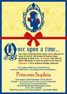 Snow White Birthday Party Invitation By My Little Bookcase My