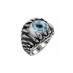 Retro Stainless Steel Punk Blue Evil Eye Band Ring ($8.53) ❤ liked on Polyvore featuring jewelry, rings, as picture, men's rings, retro style jewelry, punk rock rings, stainless steel jewellery, punk jewelry and punk rings