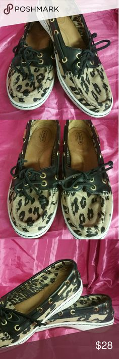 Coach Boat Shoes, 7.5 Leopard print, size 7.5...very good condition. Final price, firm. Coach Shoes Flats & Loafers