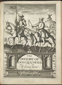 The illustrated title page taken from The History of Don Quichote, showing Don Quixote and Sancho Panza. Originally written in Spanish by Michael Ceruantes around 1620.