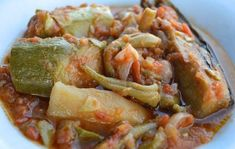 """Greek family recipe for Mediterranean vegetable stew known in Greece as """"tourlou"""". Vegetable Stew, Enjoy Summer, Greek Recipes, Family Meals, Slow Cooker, Side Dishes, Cabbage, Sweet Home, Healthy Eating"""