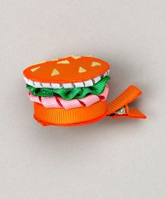 Take a look at this Orange Hamburger Clip by Bubbly Bows on #zulily today!