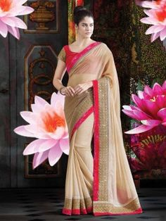 Cream Faux Chiffon Saree With Zari Work www.saree.com