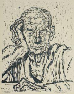 Wilhelm Rudolph, Porträt Emil Menke-Glückert, um 1940, woodcut