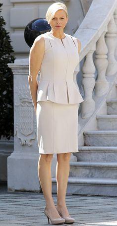 April 3  The Princess in a matching cream peplum top and pencil skirt greeting diplomats at the Palace AP Photo/Lionel Cironneau