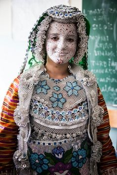 Kosovo bride in full wedding attire.