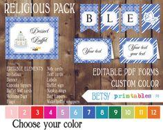 Custom color Religious celebration Kit Baptism by BetsyPrintables, $17.50