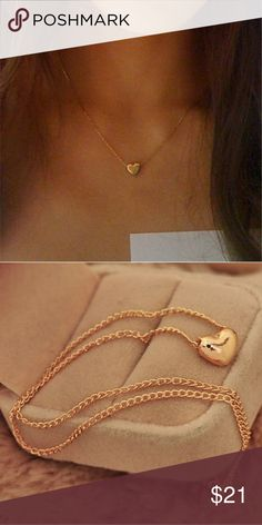 NEW dainty gold heart necklace Never worn gold alloy Jewelry Necklaces