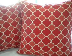 Items similar to Red Moroccan Geometric Square Pillow cover on Etsy