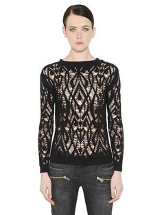 BALMAIN - DESTROYED COTTON KNIT SWEATER - BLACK