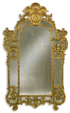 An early Louis XV carved giltwood mirror  circa 1725