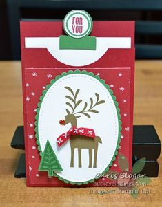 """Circle Tab Gift Card Pocket - I missed the """"Christmas in July"""" window with this project, but since it is so adaptable to any - Gift Cards Money, Itunes Gift Cards, Free Gift Cards, Christmas Gift Card Holders, Gift Card Boxes, Christmas In July, Christmas Tag, Christmas Ideas, Gift Card Presentation"""