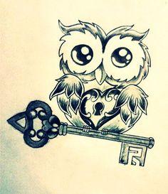 Immagine per tatuaggio gufo con chiave e lucchetto