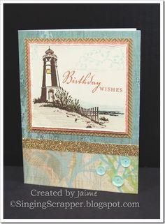CTMH Seaside Paper Pack with Seaside Greetings Stamp Set - Gold Shimmer Trim, Oceanside Sequins