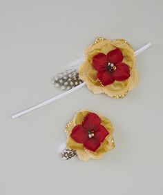 This Bows for a Princess Ivory and Red Flower Headband & Clip by Bows for a Princess is perfect! #zulilyfinds