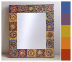 """Stained Glass Mosaic Mirror - """"Channeling Kandinsky"""" on Etsy, $167.82 CAD [SOLD]"""