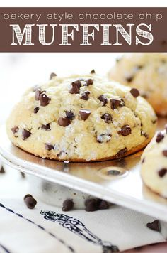 Utterly in love with this easy recipe for soft and fluffy, HUGE Bakery-style Chocolate Chip Muffins!