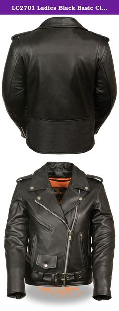 LC2701 Ladies Black Basic Classic Motorcycle Premium Leather Jacket with plain sides. The LC 2701 is a beautiful women's classic leather jacket . It has half belt and crossover snap down collar. It runs longer than usual and comes in regualr and plus sizes. A must have for fashion and great for riding on the motorcycle. Made with top grade leather.