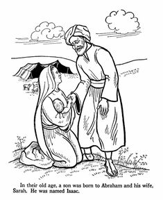 Isaac Is Born To Abraham And Sarah When They Are Old Bible Coloring Pages