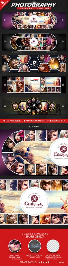 Photography Sliders - 5 Designs by doto Awesome quality slider template PSD file ready for your Services, products, campaigns.Each PSD file is layered and fully organised Photo Collage Design, Photo Collage Gift, Booth Design, Banner Design, Indian Wedding Album Design, Wedding Album Layout, Slider Design, 100 Free Fonts, Wedding Photo Books