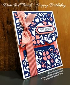 Stampin Up Detailed Floral Happy Birthday Gift Card Holder Cards
