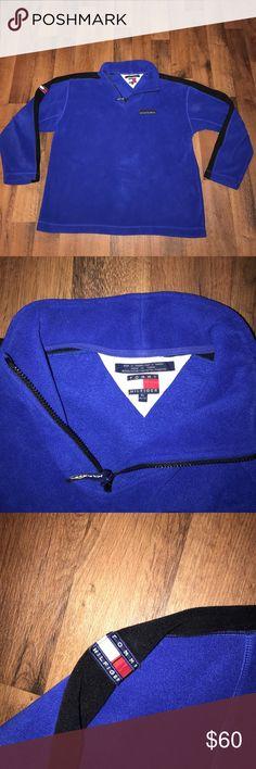 Vintage XL Tommy Hilfiger Big Patch Fleece Sweater Excellent Tommy Hilfiger Sweaters Zip Up