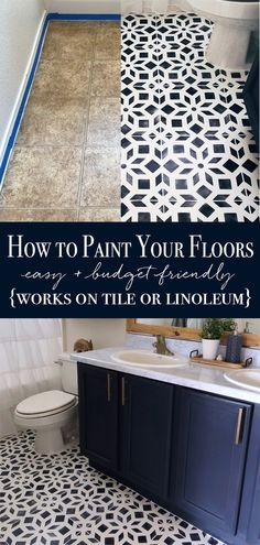 how to paint linoleum how to paint tile painted bathroom floor diy painted floor bathroom makeover tile stencil affordable diy home project bathroom makeover bathroom inspiration chalk painted floor how to chalk paint a floor Home Renovation, Home Remodeling, Bathroom Renovations, Bathroom Makeovers, Cheap Bathroom Makeover, Basement Renovations, Painted Bathroom Floors, Bathroom Flooring, Painted Floors
