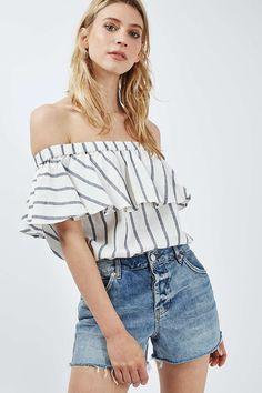 TALL Stripe Linen Bardot Top - Topshop