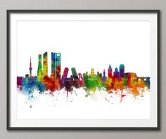 Madrid Spain Skyline, art print  Frame/Matte is not included. Available sizes are shown in the SELECT A SIZE drop down menu above the ADD TO CART button  For BOX CANVAS and FRAMED PRINTS please contact me for available options.  This print is on superior quality semi-matte 240gsm paper. The specially coated surface enhances the color depth and contrast of the the Ultrachrome inks, which guarantee a lifetime of fade resistance.  Please note that actual colors may vary slightly due to moni...