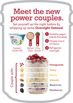 Greek yogurt, chia seeds, rolled oats, and any mix-ins of your choice combined together to make delicious overnight oatmeal!