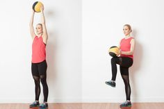 Try This Low Impact Cardio Challenge with a Med Ball and Kettlebell: Warm Up - Knee Lifts with Med Ball Flexibility Workout, Strength Workout, Strength Training, Cross Training, Cardio Challenge, Senior Fitness, Senior Workout, Easy Workouts, Fitness Workouts
